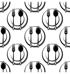 Cutlery and dishware seamless pattern vector image vector image