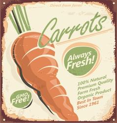 Retro metal sign for farm fresh carrots vector image vector image
