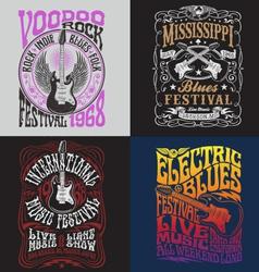 Vintage Rock Poster T-shirt Design Set vector image vector image