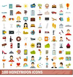 100 honeymoon icons set flat style vector