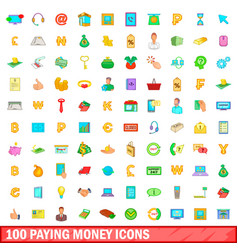 100 paying money icons set cartoon style vector