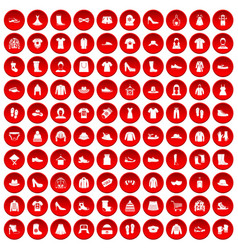 100 rags icons set red vector