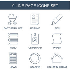 9 page icons vector image