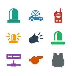 9 police icons vector