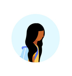 African american school girl profile avatar icon vector