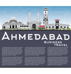 Ahmedabad Skyline with Gray Buildings vector image