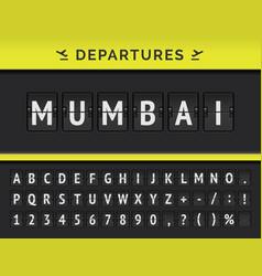 Airport flip board showing flight departure vector