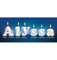 ALYSSA written with burning candles vector image