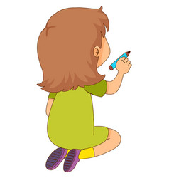 Back of girl holding pencil vector