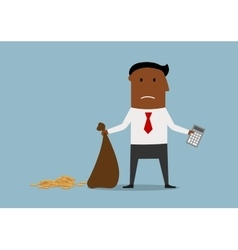 Bankrupt businessman with empty money bag vector image