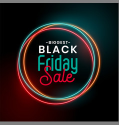 black friday sale glowing neon background design vector image