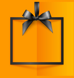 Black gift box frame with silky bow and ribbon on vector image