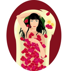 Black haired woman takes a bath with rose petals vector image