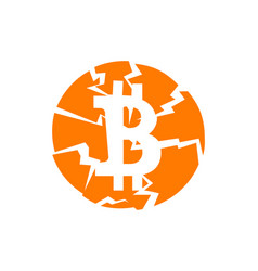 Broken bitcoin sign on white isolated vector