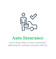 Car insurance agent sell or buy used vehicle vector