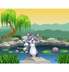 Cartoon happy raccoon waving vector