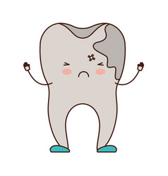 cartoon tooth with caries by side in colorful vector image