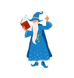 cartoon wizard hold book reading magic spell vector image