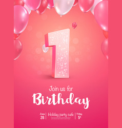 celebrating 1 years birthday 3d vector image