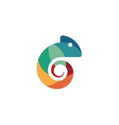 chameleon logo silhouette - animal reptile lizard vector image