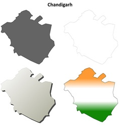 Chandigarh blank detailed outline map set vector image