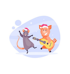 christmas rat and pig vector image