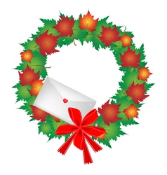Christmas Wreath of Maple Leaves and Envelope vector image