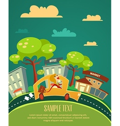 city stylized with buildings vector image