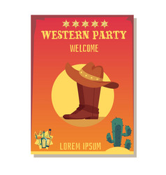 cowboy invitation template for wild west party vector image