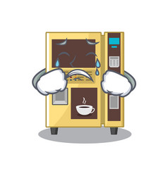 Crying coffee vending machine in a karakter vector