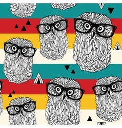 Dancing owls on disco party seamless pattern vector image