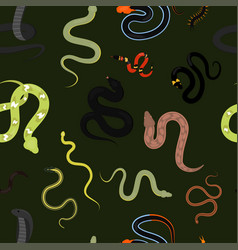 different snake reptile animals cartoon vector image