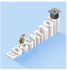 education step concept boy student walking vector image
