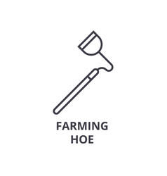 Farming hoe line icon outline sign linear symbol vector