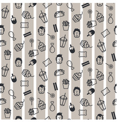 Fast food icon style seamless pattern vector