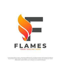 Flame with letter f logo design fire logo template vector