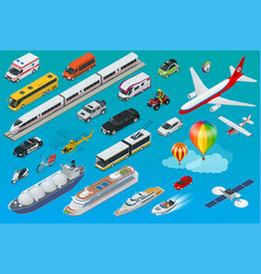 flat isometric city transport icon set vector image