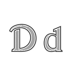 Font tattoo engraving letter D with shading vector image