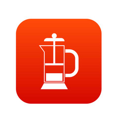 french press coffee maker icon digital red vector image