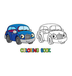 Funny small car with eyes coloring book vector