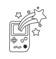 Game boy and shooting star black and white vector