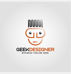 Geek designer logo with line art style vector
