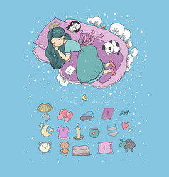 girl and cats sleep in bed good night sweet vector image