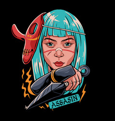 girl assasin vector image