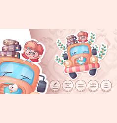 Girl love tavel - cute sticker vector