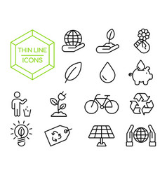 Green eco friendly environment thin line icon set vector
