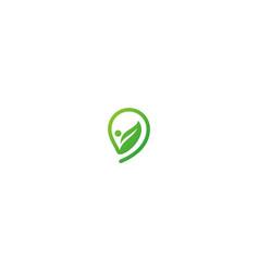 green leaf organic eco logo vector image