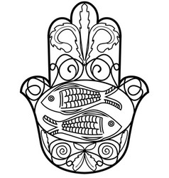 Hamsa miriam hand symbol with floral ornament and vector