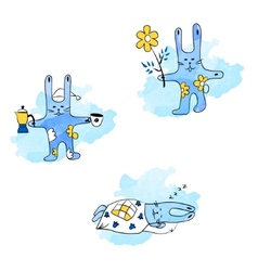 Hares and daily routine vector
