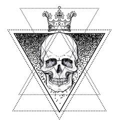 Human skull over sacred geometry symbol demon vector